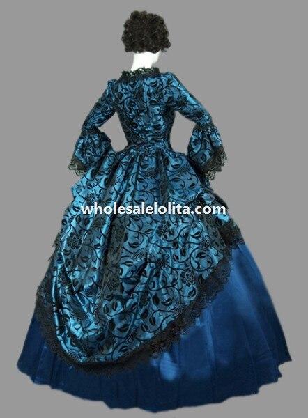 Винтажная Marie Antoinette Голубая цветочная викторианская эпоха бальное платье театральная одежда