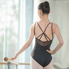 2019 cinta ballet collants para mulheres verão malha adulto ballet uniformes com tiras cruz voltar collant ginástica bodysuit