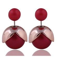9 Colors New Arrival Double Ball Earrings Romantic Gold Plated Torus Side Pearl For Women Fancy Fine Jewelry