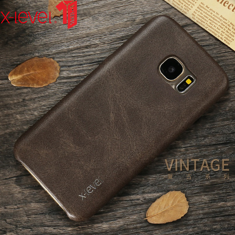 X-Level Kulit Kasus Untuk Samsung Galaxy S7 S8 Asli PU Ultra Slim Penuh Pelindung Kembali Tutup Kasus Untuk Samsung S7 Tepi S8 Plus