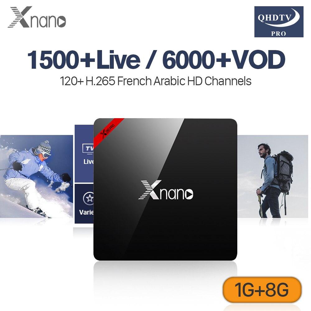 QHDTV Pro IPTV France Arabic Subscription XNANO 1G 8G S905X H.265 Decoder Channels IPTV 4K Support BT4.0 Italia Algeria TV Box x9 pro amlogic s905x 1g 8g 4k tv box rii i8 white