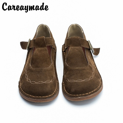 Careaymade Low price Cow suede pure handmade Buckle Strap shoes,the retro art mori girl shoes,Women's casual shoes Flats shoes-in Women's Flats from Shoes    1