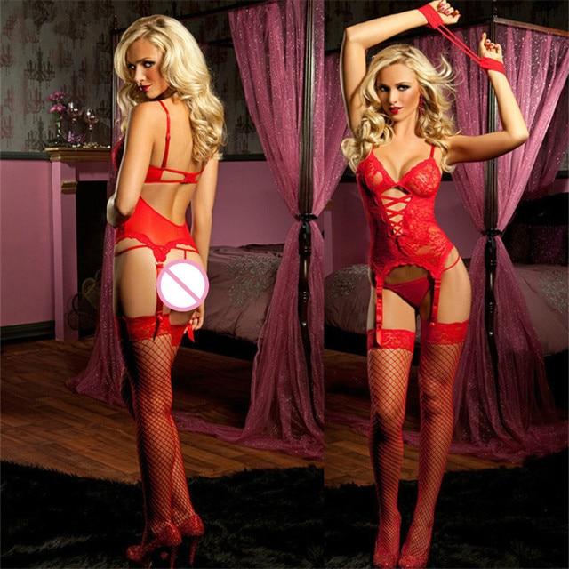 a40f10d017e Sexy Lingerie Garter Sets Black Red Stripper Clothes Garter Belts+Lace  Corset Bustier+Cuffs+G-String Plus Size Lingerie Set 4XL