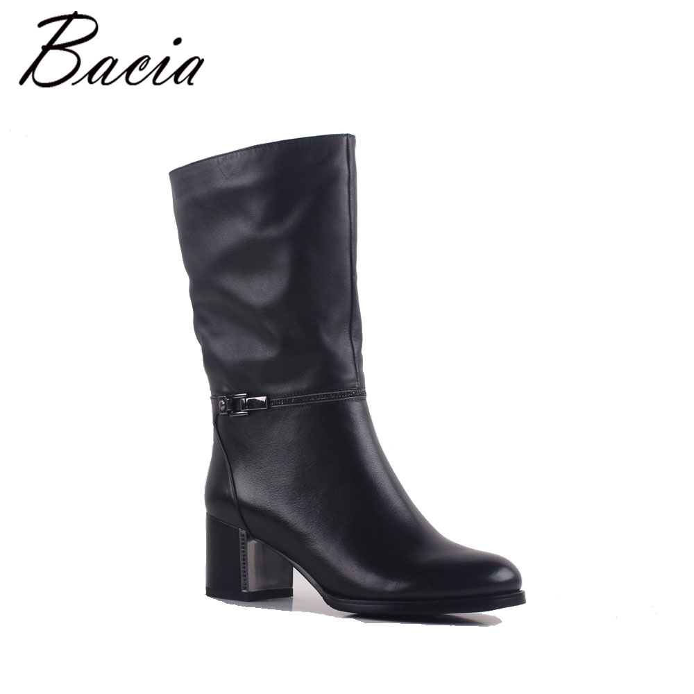 Bacia Mid-Calf Boots ReaL Natural Cow Leather Boots Retro Handmade Women Boots Lady Casual Vintage Autumn Shoes Size 35-41 MB020 double buckle cross straps mid calf boots