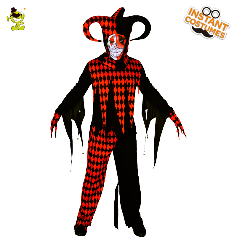 Men's Evil Jester Clown Costumes Masquerade Halloween Party Scary Clown Suit Imitation Party Cosplay Evil Clothing