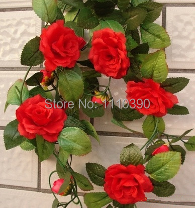 200cm simulation rattansilk rose rattansartificial flower roses vines for door wall decorchristmas wall hanging decorations - Christmas Wall Hanging Decorations