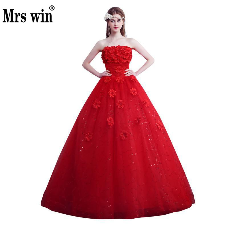 New White And Red Strapless Wedding Dress Big Size Luxury Custom Made Cheap Wedding Dress Vestidos