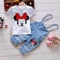 Conjuntos das crianças Minnie T-shirt de manga curta + Denim Macacão Conjunto de Roupas Da Menina das Crianças Roupas de Criança Crianças Roupas de Menina conjunto