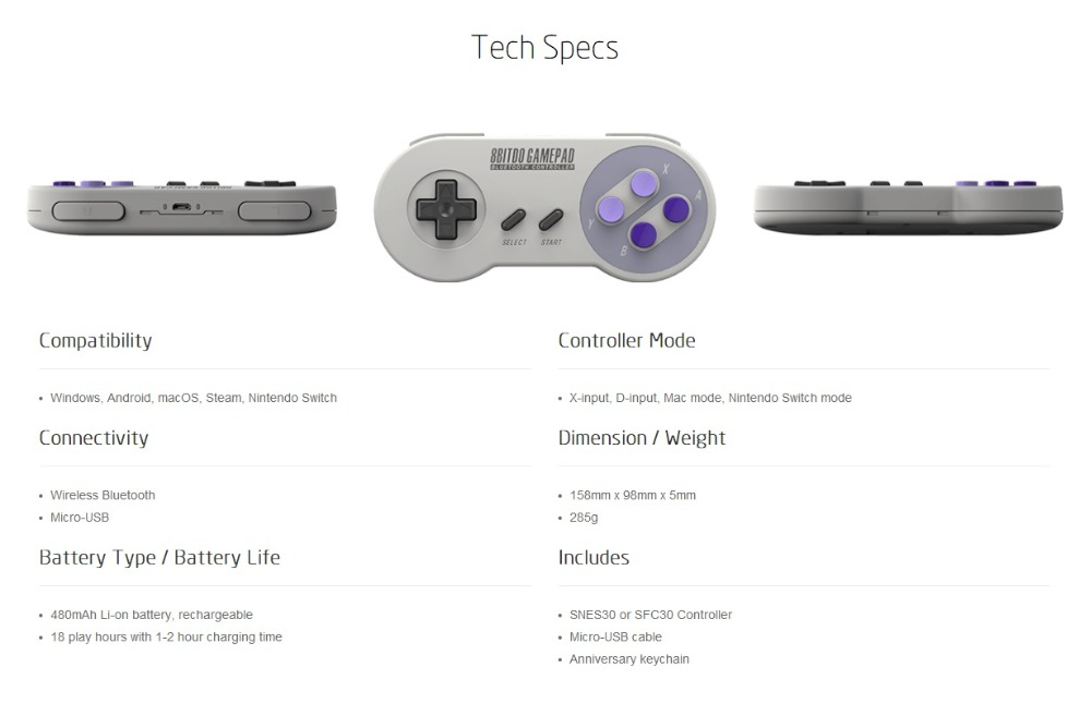 Official 8BITDO SNES30 Bluetooth Wireless Controller Support Switch Android MacOS Gamepad