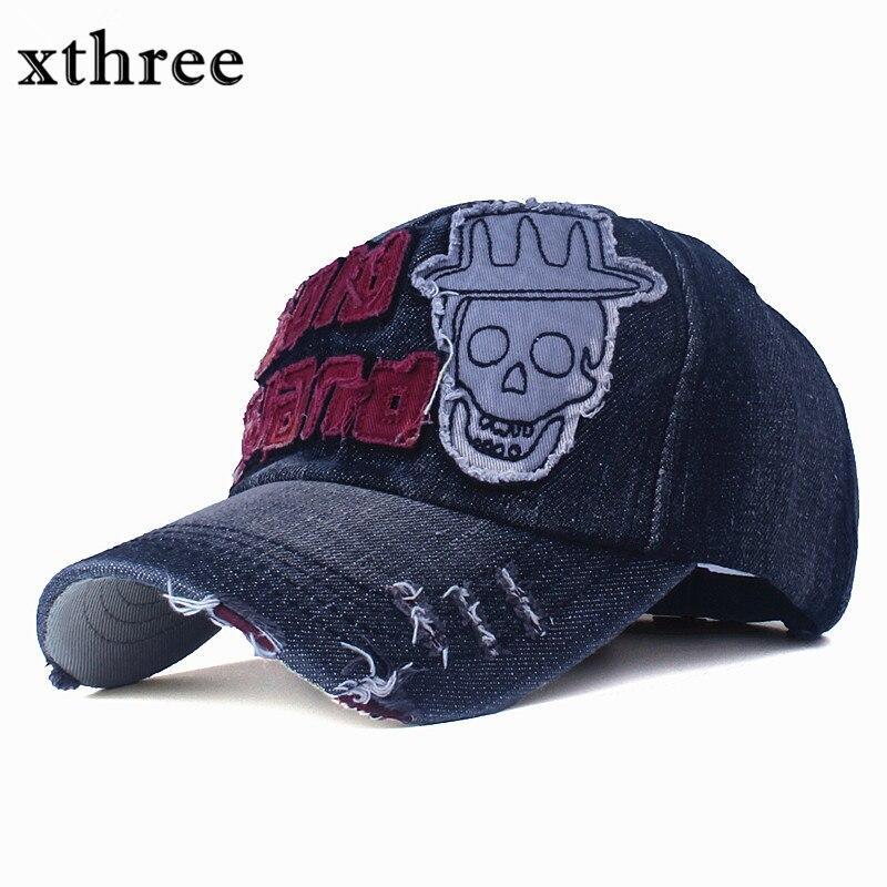 Prix pour [Xthree] Nouveau denim casquette de baseball rétro snapback chapeau pour hommes casual équipée cap casquette Lettre broderie gorras