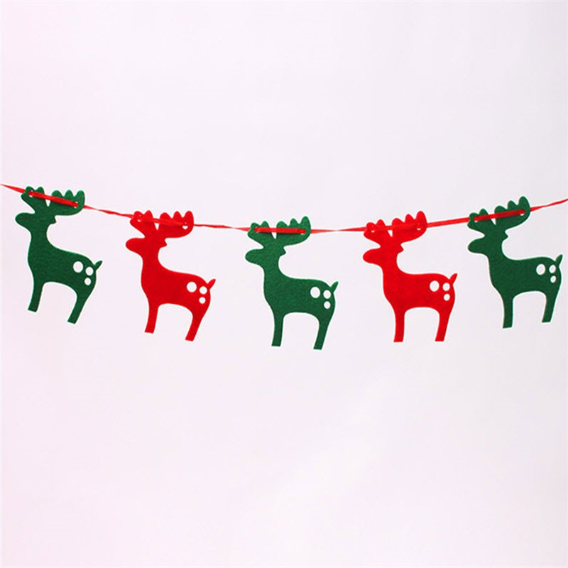 aliexpresscom buy christmas gifts and decorations banners 2m felt cloth elk pull flag bunting christmas reindeer christmas tree decoration from reliable - Christmas Reindeer Decorations