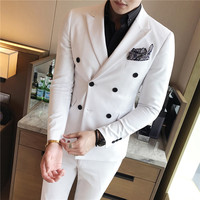 Men White Dress Suits Double Breasted Two Side Cut At Back White Black Frey Red Royal Blue Smoking Homme Jaqueta Masculina 3XL