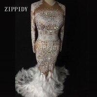 Sparkly Rhinestones Feather Nude Dress Sexy Nightclub Full Stones Long Big Tail Dress Costume Prom Birthday