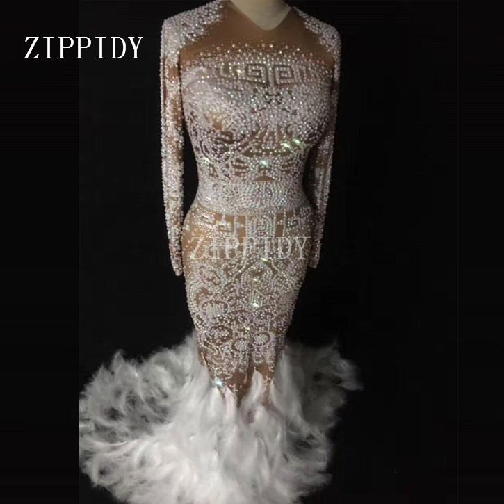Sparkly Rhinestones Feather Nude Dress Sexy Nightclub Full Stones Long Big Tail Dress Costume Prom Birthday Celebrate Dresses