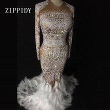 Sparkly strass pena vestido nu sexy boate pedras cheias longo cauda grande vestido traje baile de formatura aniversário celebrar vestidos