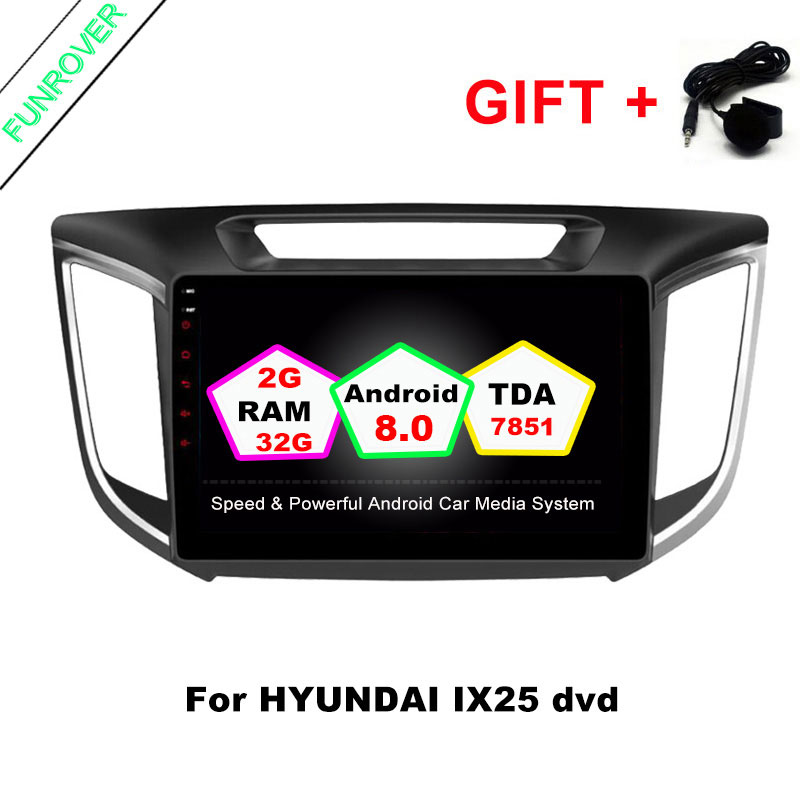 2G+32G Android 8.0 car navigation dvd player GPS Navi 1024*600 For HYUNDAI IX25 CRETA gps stereo car multimedia player dvd коврики в салонные ниши синие ix25 для hyundai creta 2016