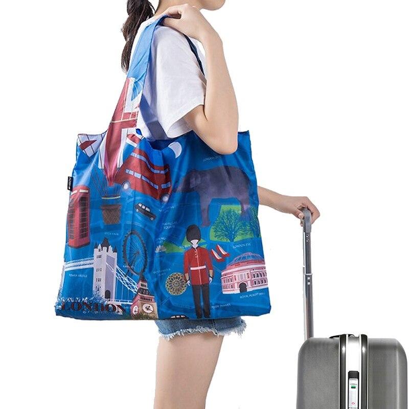 Bolsas de compras respetuosas con el medio ambiente a prueba de agua para viaje bolso reutilizable personalizado para mujer bolsa de tela de hombro organizador a granel