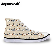 90fb0be55 Doginthehole High Top Sapatas de Lona para Meninas Adolescente Impressão  Dachshund Doxie Vulcanizada Sapatos Mulheres Sapatilhas
