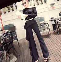 2019 spring new personality ruffled black pants women's trousers was thin high waist bag hip wide leg pants flared pants