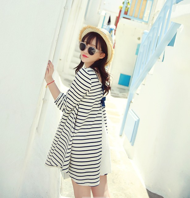 Han edition long maternity dress in bigger sizes loose maternity clothes during the spring and autumn long sleeve blouse