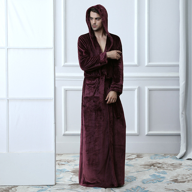 Lovers Thermal Hooded extra Long Flannel Bathrobe Women Men Thick ...