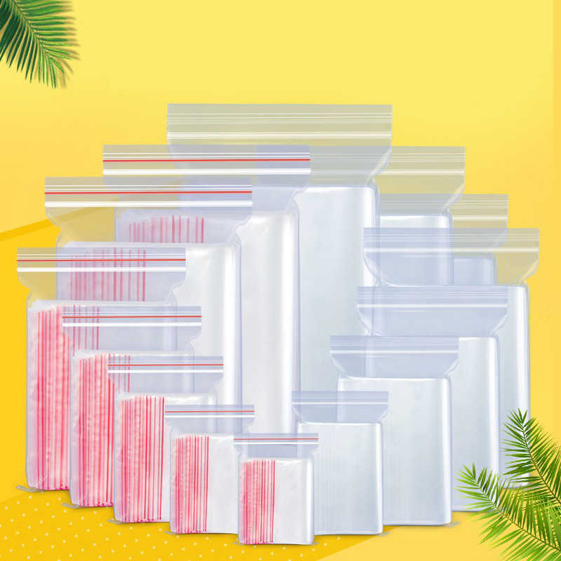 100 Transparent Zipper Bags Reusable High Quality Jewellery/food Storage Bag Dustproof Plastic Bag Hotel Kitchen Zipper Bag