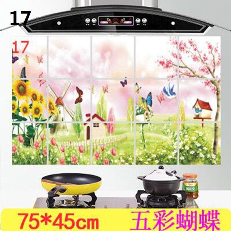Купить с кэшбэком 1Pc 75*45 cm Waterproof Aluminum Foil Wall Sticker Tiled Kitchen Bathroom Wall Art Decals Tulip Flower Rose Home Decoration