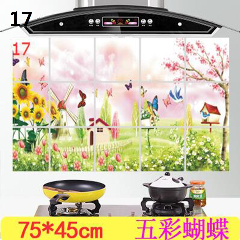 1Pc 75 45 cm Waterproof Aluminum Foil Wall Sticker Tiled Kitchen Bathroom Wall Art Decals Tulip Flower Rose Home Decoration in Wall Stickers from Home Garden