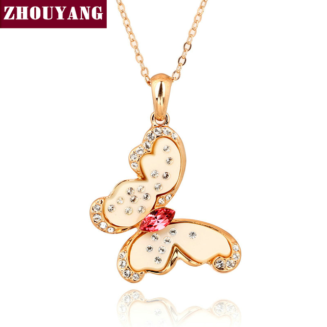 ZHOUYANG ZYN041 Flower Butterfly Necklace Rose Gold Color Fashion Jewellery Free Pendant Austria Crystal Wholesale