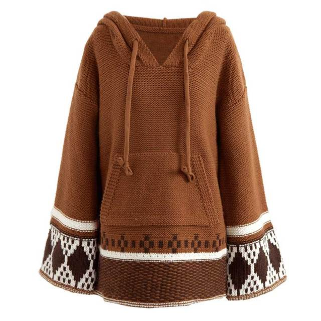BOHO INSPIRED Hooded Sweaters Women long sleeve Pullovers Autumn Winter Knitted Thick Warm hippie chic jumpers Female clothing