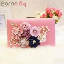 Berno fly New Fashion Colorful Flowers Party Ladies Evening Clutch Bags Appliques Chain Hasp Women Shoulder Crossbody Bags