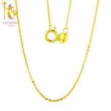 [Нимфа] натуральная 18 К Белый Желтый Золотая цепочка 18 дюйм(ов) au750 себестоимость Цепочки и ожерелья подвеска Wendding подарок партии Для женщин [G1002]
