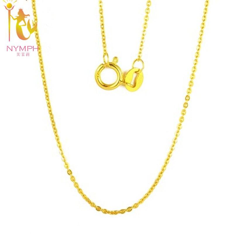 [NYMPH] echte 18 Karat Weiß Gelb Gold Kette 18 zoll au750 Kosten Preis Halskette Anhänger Wendding Party Geschenk Für Frauen [G1002]
