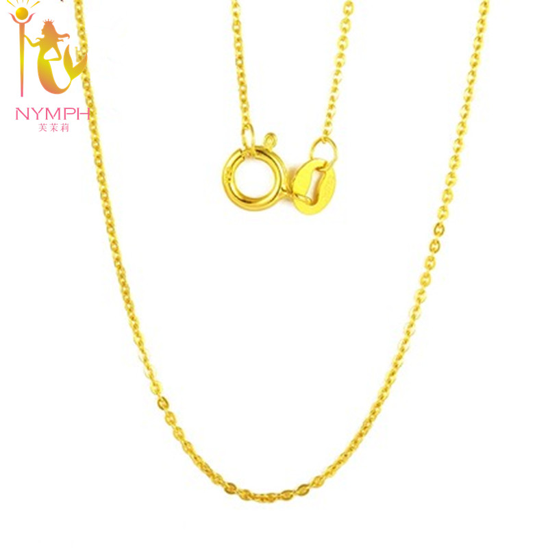 NYMPH Äkta 18 K White Yellow Gold Chain 18 inches au750 Kostnadspris Halsband Hängsmycke Wendding Party Gift For Women [G1002]