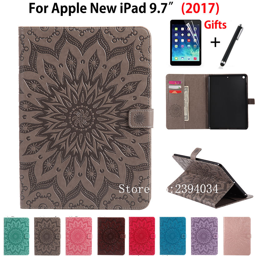 Fashion Tablet case Folding Flip PU leather Cover For Apple New iPad 9.7 2017 Cases A1822 A1823 Funda Skin Shell +Film +Pen case cover for goclever quantum 1010 lite 10 1 inch universal pu leather for new ipad 9 7 2017 cases center film pen kf492a