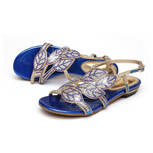 Plus Size Women Gladiator High Heels Sandals Crystal Rhinestone Summer Rome Female  Ladies Party Wedding Prom 553819d78f26