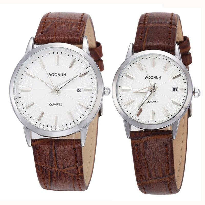WOONUN Top Brand Luxury Couple Lover Watch Genuine Leather Strap Quartz-Watch Fashion Casual Men Women Thin Watches Waterproof
