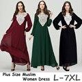 Mulheres Islâmico Abaya Muçulmano Apliques Vestidos de Chiffon Patchwork Plus Size 5XL 6XL 7XL jilbabs e abayas muçulmano vestido islâmico