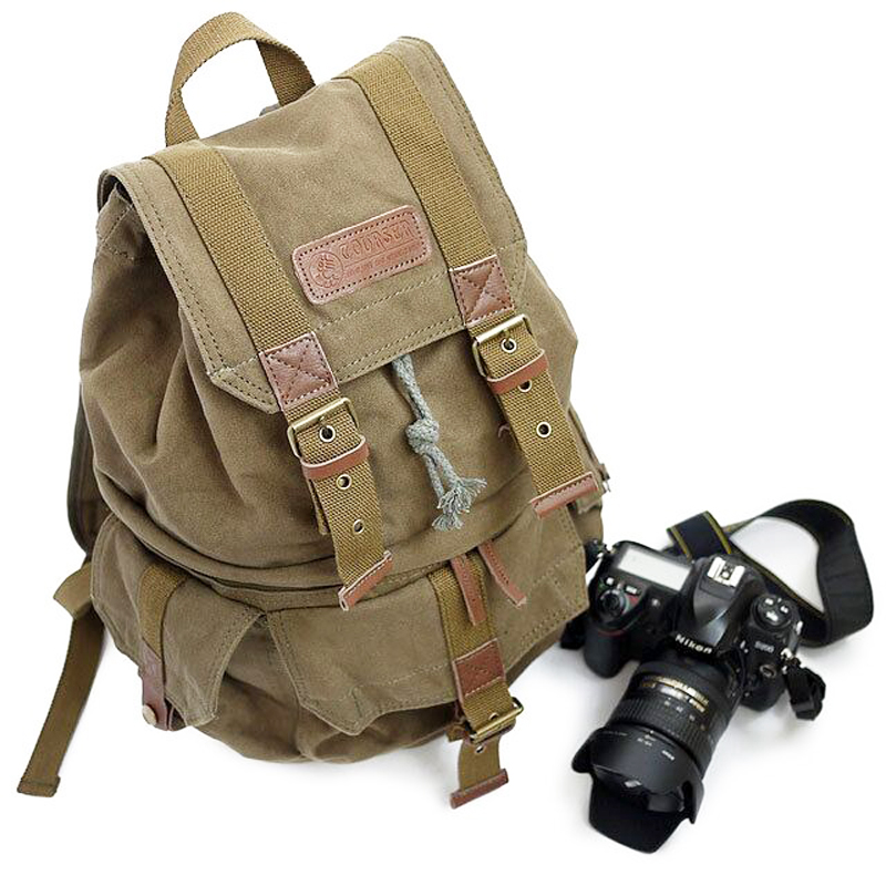 ФОТО Two-shoulder DSLR Canvas Camera Bag/Case Travel Photo Backpack for Canon Nikon