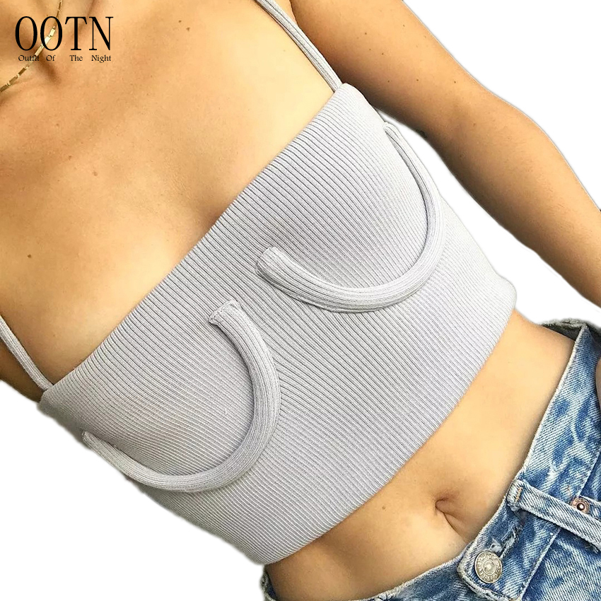 OOTN Strap Crop Top Women Sleeveless Tank Tops White Gray Camisoles Female Sexy Summer Short Camis Club Knitted Cotton 2018
