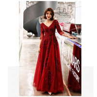 It's YiiYa Evening Dress 2019 Red Floral Lace V neck Backless Long Women Party Dress Half Sleeve Robe de Soiree Plus Size E486