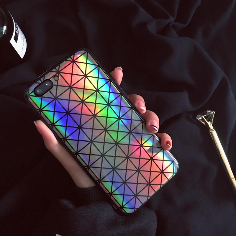 NEW Geometric Blue Ray Rainbow Glitter Phone Case For iPhone