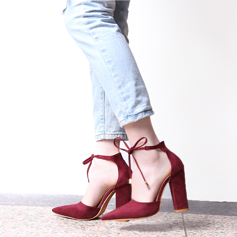 6 Colors Pointed Strappy Pumps Sexy Retro High Thick Heels Shoes ...