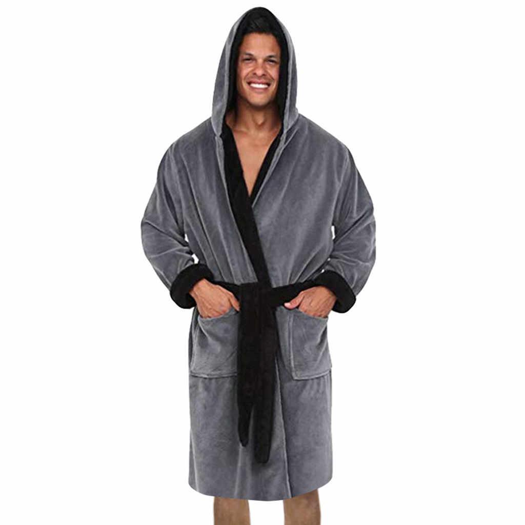 バスローブ男性ローブパジャマ冬長くぬいぐるみバタ hombre バスローブメンズ着物フード付き d90712