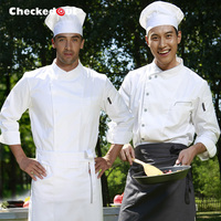Free Shipping Cook Suit Checkedout White Long Sleeve Chef Uniform Cheapest Chef Jacket