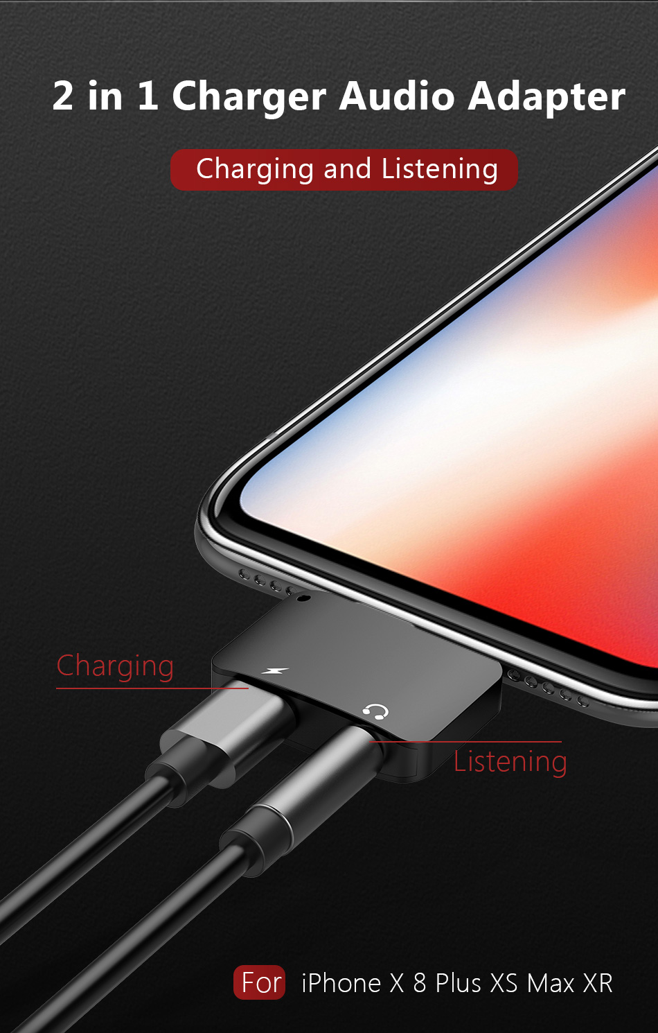 !ACCEZZ Mini 2 IN 1 Lighting Audio Charging Converter For iphone X 8 7 Plus XS MAX XR 3.5mm Headphone Jack Adapter AUX Splitter (4)