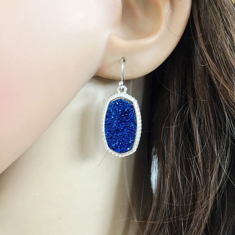 10 Colors Resin Drusy Dangle Earrings Imitation Crystal Stone Druzy Charms Earings Silver Colors Brand Jewelry  Women KS 71