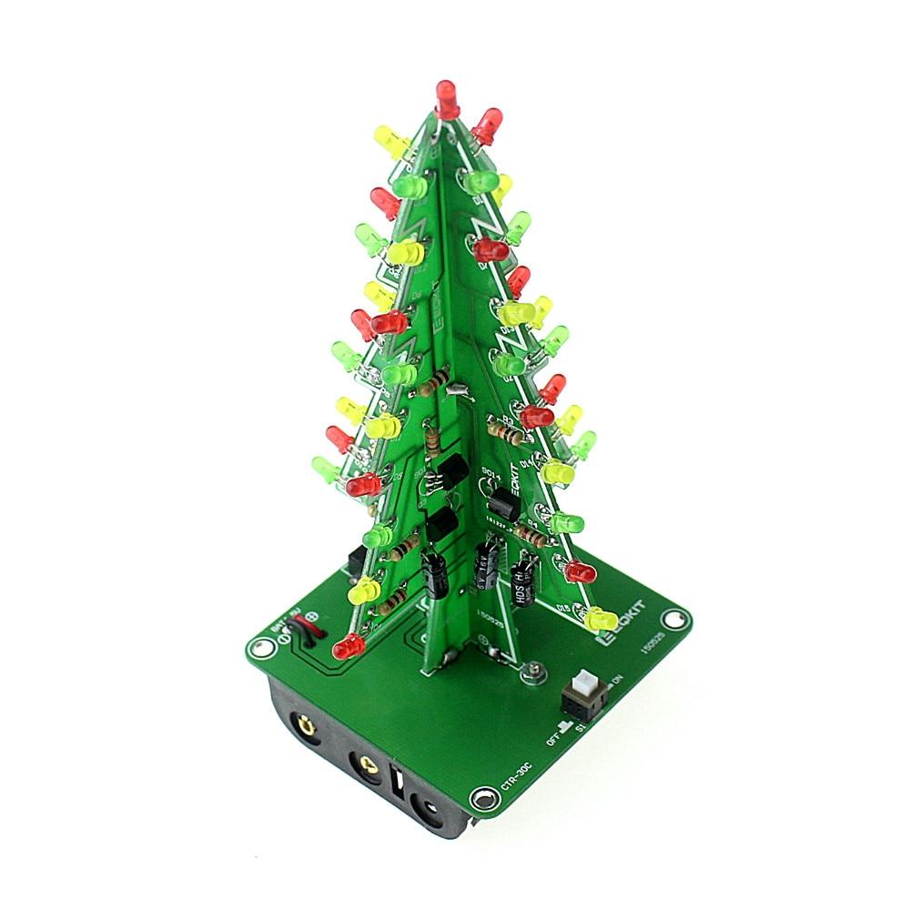 Трехмерная 3D LED Рождественская Елка DIY Комплект Красный/Зеленый/Желтый СВЕТОДИОД Вспышки Цепи Комплект Электронных Весело Набор