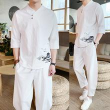 LOLDEAL Chinese Embroidery Cotton and Linen Mens Large Size Loose Trousers Short-sleeved T-shirt Summer Tropical Suit