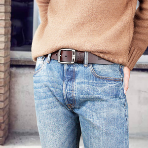 Image 4 - genuine cowhide leather belts for men brand Strap male pin buckle fancy vintage jeans cintos  BAIEKU 2018 NEW